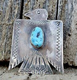 Thunderbird Pin Blue Turquoise NAVAJO Sterling Fred Begay Southwest Fred Harvey