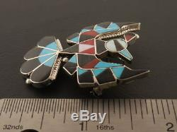 Thunderbird Pin Pendant Sterling Silver Zuni Inlay by Delwin Gasper