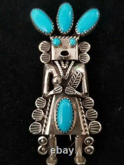 Toby Henderson Kachina Sterling Silver Turquoise Pin Brooch Pendant 17.6 Grams