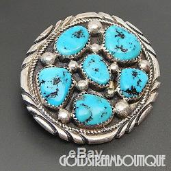 Tommy Moore Navajo Sterling Silver Kingman Turquoise Cluster Oval Brooch Pin
