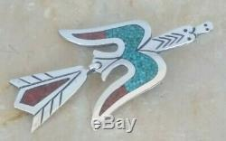 Tommy Singer Navajo Sterling Silver Turquoise Coral Inlay Peyote Bird Brooch Pin