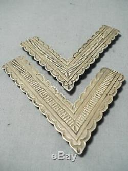 Tremendous Vintage Navajo Sterling Silver Collar Pins Native American Old