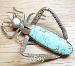 Turquoise Cricket by Mose Blackfoot Navajo Artist Sterling Silver Pin WOW 4091