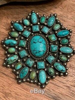 Turquoise Sterling Silver Pendant Pin