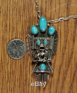 Turquoise Yei Kachina Sterling Silver Pendant Pin Navajo Doris Smallcanyon