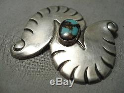 Twisting Turning Vintage Navajo Bisbee Turquoise Sterling Silver Pin Old