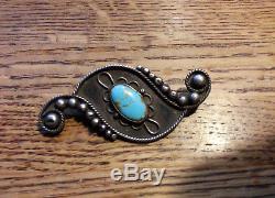 Uita17 Navajo Sterling Silver Pin Natural Turquoise Hubbell Ganado Trading Post