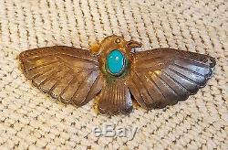 Uita22 Navajo Sterling Silver Firebird Pin Natural Turquoise Stone Circs 1930's