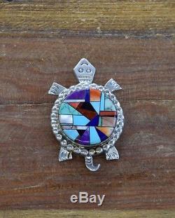Unique Vintage Navajo Sterling Silver Multi-Stone Inlay Turtle Pin/Pendant