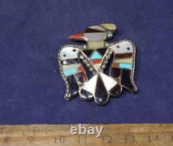 VERY NICE Silver Zuni Inlaid Thunderbird Pin Bobby Corraine Shack