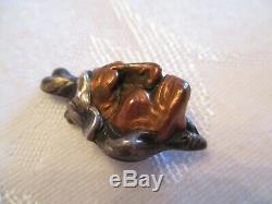 VERY RARE 1900's Antique STERLING SILVER & Copper NATIVE AMERICAN Face PIN