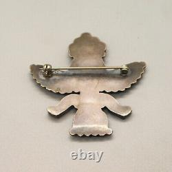VINTAGE 1950's STERLING SILVER ZUNI STONE INLAY KNIFEWING PIN Signed LNY