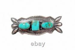 VINTAGE FRED Harvey NAVAJO RARE Fox Nevada Turquoise PIN Sterling Silver 1910