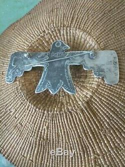 VINTAGE NATIVE AMERICAN STERLING THUNDERBIRD PIN BROOCH TURQUOISE NAVAJOHuge 4