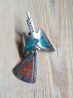 VINTAGE NAVAJO TOMMY SINGER Sterling Silver Chip Inlay Peyote Bird Pin