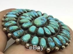 VINTAGE Old PAWN NAVAJO Sterling Silver LARGE CLUSTER TURQUOISE Brooch PIN