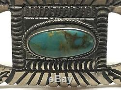 VINTAGE Old PAWN NAVAJO Sterling Silver LARGE TURQUOISE Pin Brooch