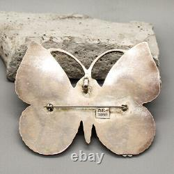 VINTAGE ZUNI-STERLING & STONE INLAY BUTTERFLY PIN/PENDANT by OLIVER CELLICION