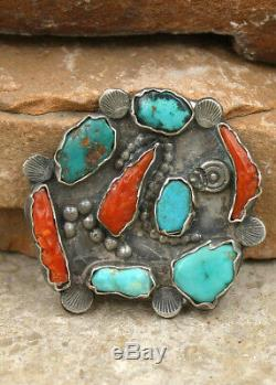 VINTAGE ZUNI STERLING, TURQUOISE & CORAL PIN by DAN SIMPLICIO-NATIVE AMERICAN