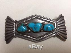 VTG Brooch NAVAJO D Taliman 3 Turquoise Pin Stamped D Taliman Hand Sterling Made