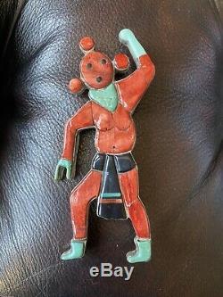 VTG Large ZUNI INLAY STONE MUDHEAD SILVER PENDANT PIN Vintage
