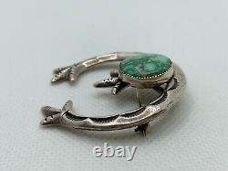 VTG Native American Sandcast Sterling Silver Turquoise Pin/Brooch Pendant 19.8g