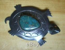 VTG Navajo Hopi Water Turtle 9.4g Native American Green Turquoise Stone Silver