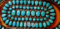 VTG Navajo Turquoise Silver Ceremonial Cluster 5.5 JM BEGAY 95g Brooches Pins
