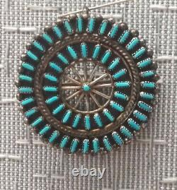 VTG S. A. Native American Zuni Sterling Silver NEEDLE Point Turquoise PENDANT/PIN