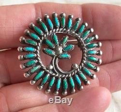 VTG Signed Zuni Native American Sterling Silver Needlepoint Turquoise Pin Brooch