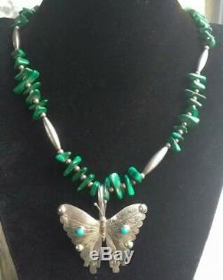 VTG Sterling Silver Navajo Turquoise Butterfly Pendant/Pin Malichite Necklace