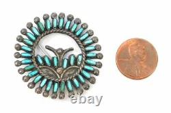 VTG Zuni Sterling Petit Point Turquoise Brooch Pin Old Pawn Native American