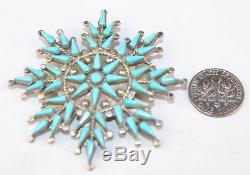 Vera Halusewa Native American Zuni Sterling Silver Snowflake 2.25 Pin Pendant