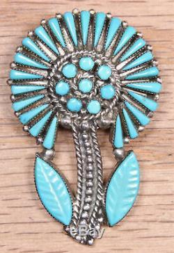 Vera Halusewa Zuni Sterling Silver Needlepoint Turquoise Pin Pendant 617-9