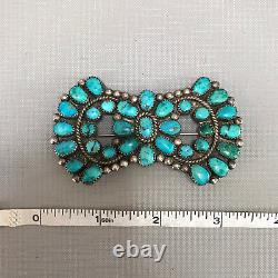 Very Impressive Turquoise and Silver Manta Pin