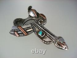 Very Old Navajo Sterling Silver Copper & Turquoise Horse Saddle Pin Brooch