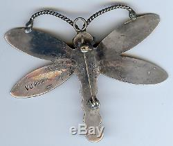 Vincent Platero Navajo Wonderful Sterling Silver Dragonfly Pin Brooch