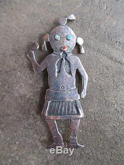 Vintage 1950 Hopi Silver Overlay Mudhead Kachina sterling pin