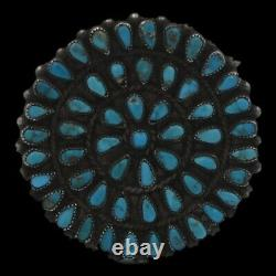 Vintage 1950's Navajo Old Pawn Sterling Silver Natural Turquoise Cluster Brooch