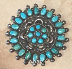 Vintage 1960s Native American Zuni Indian Turquoise Cluster Pin