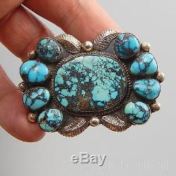 Vintage 1970's Marie Silver Navajo 925 Silver Turquoise Cluster Feathers Brooch