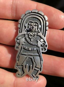 Vintage 2 1/8 HOPI Sterling Silver Overlay KACHINA Katsina Pin Brooch Pendant