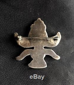 Vintage 30's-40's Large Zuni Knifewing Stone Inlay Sterling Pin Edaakie Vinta