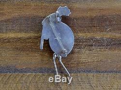 Vintage Bisbee Turquoise Kokopelli Sterling Silver Pin Pendant