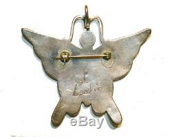 Vintage Butterfly Inlay Pin Pendant Native American Signed Snowa Esalio (Zuni)