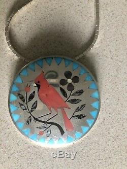 Vintage Dennis Nancy EDAAKIE, ZUNI NM Red Cardinal Necklace/pin