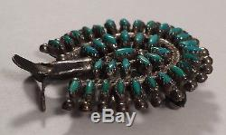 Vintage Eleanor Weeka Zuni Indian Sterling Silver Turquoise Pin Brooch Pendant