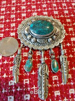Vintage Emer Thompson Patrick Yazzie Sterling Silver Turquoise Brooch WOW