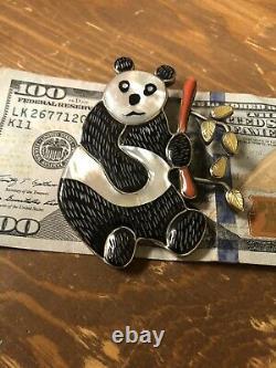 Vintage Estate Panda Bear Zuni Pendant Pin VTG Original Perfect