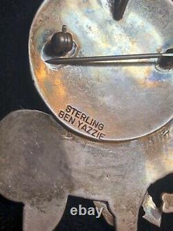 Vintage Estate Sterling Rare Native American Pendant Pin Signed Ben Yazzie